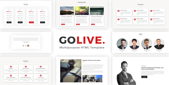 GoLive - Multipurpose Bootstrap Template - Corporate Site Templates TFx Joey Timothy