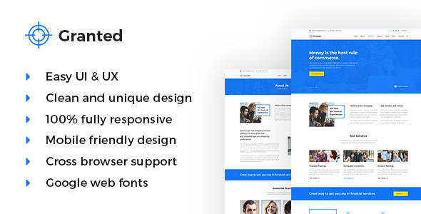 Granted – Corporate & Financial HTML5 Template – Business Corporate TFx Quin Malik