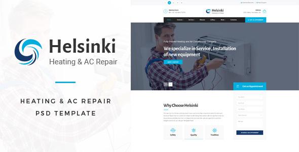 Helsinki : Heating & AC-Repair PSD Template - Business Corporate TFx Barclay Colbert