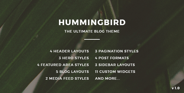 Hummingbird - The Ultimate Blog Theme - Personal Blog / Magazine TFx Hokolesqua Garnett