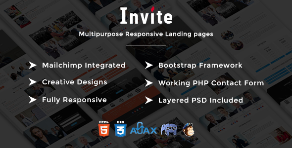 INVITE – Multipurpose Responsive HTML Landing Pages – Events Entertainment TFx Jem Hughie