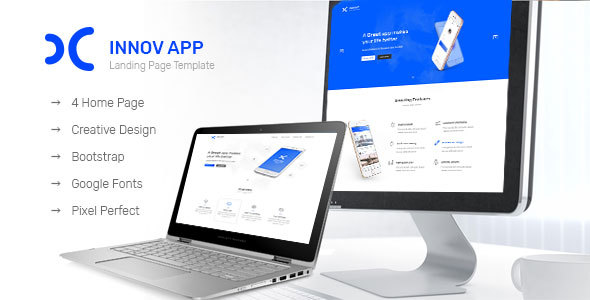 Innov App Landing Page - PSD Templates  TFx Schuyler Woodie