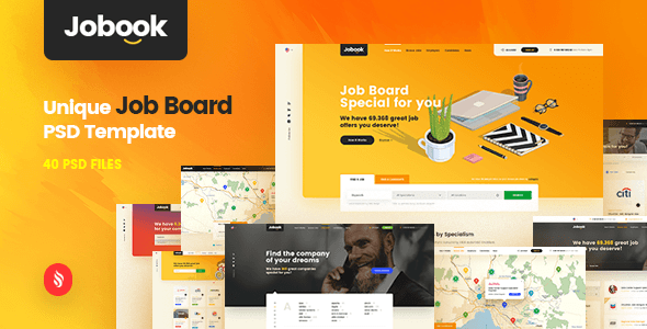 Jobook - A Unique Job Board Website PSD Template - PSD Templates  TFx Mat Rickie