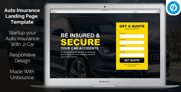 Jr. Auto Insurance Landing Page – Responsive Unbounce Template – Unbounce Landing Pages Marketing TFx Bryon Shaquille