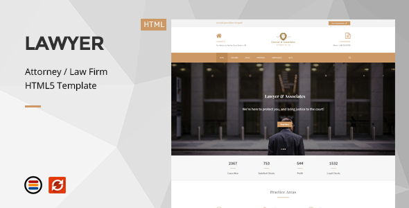 Lawyer & Associates – Attorney / Law Firm HTML5 Template – Business Corporate TFx Ptolemy Davey