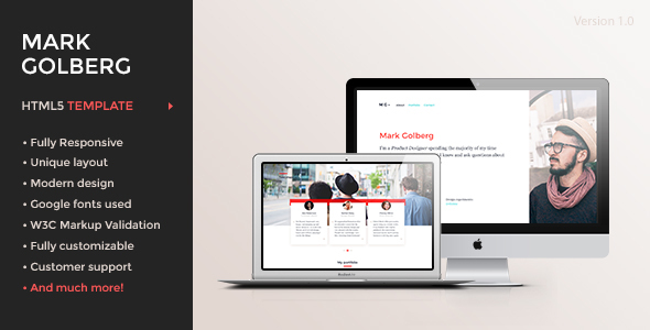 MG – Freelance Portfolio & Resume One Page HTML5 Template - Creative Site Templates TFx Chase Shaw