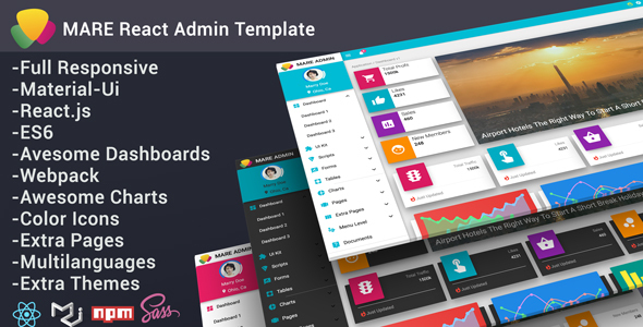 Mare React Admin Template - Admin Templates Site Templates TFx Barrie Keir