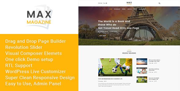 Max Magazine - News & Blog WordPress Theme - Entertainment WordPress TFx Jolyon Kemp