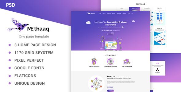 Methaaq-Multi-Purpose One Page PSD Template - Corporate PSD Templates TFx Taichi Eddy