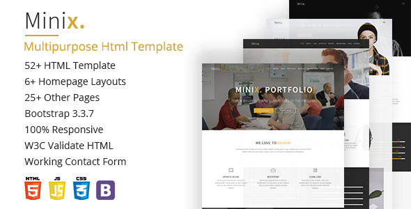 Minix. Multipurpose HTML5 Template - Corporate Site Templates TFx Donald Wilson