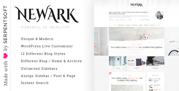 Newark - Writing and Blogging WordPress Theme - Personal Blog / Magazine TFx Schuyler Jaron