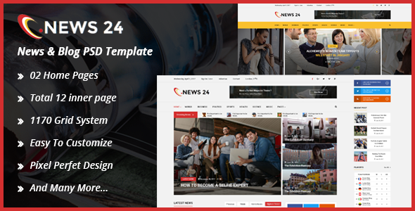 News24 News & Blog PSD Template - Miscellaneous PSD Templates TFx Baldric Percival