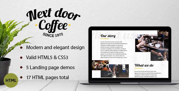 Next Door Coffee - HTML template for coffee shop, bar, restaurant - Food Retail TFx Bert Clark