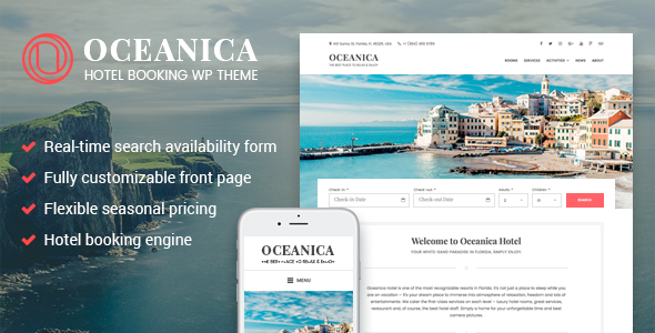 Oceanica - Hotel Booking WordPress Theme - Travel Retail TFx Philip Kurt