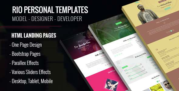 Personal HTML Templates - Rio - Personal Landing Pages TFx Amyas Nate