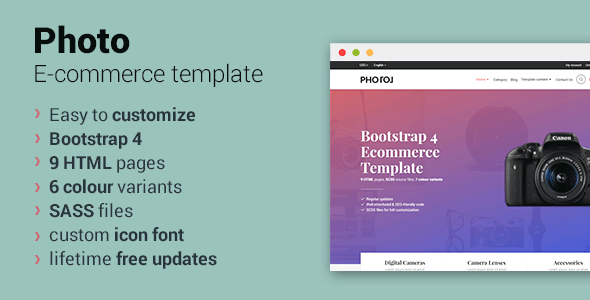Photo - Bootstrap 4 Ecommerce Template - Retail Site Templates TFx Royale Korbin