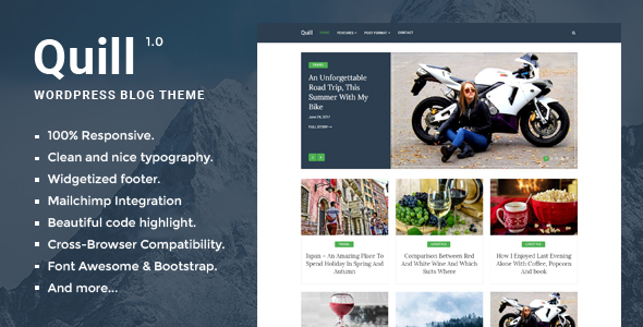 Quill Blog - Responsive Minimal WordPress Blog theme - Personal Blog / Magazine TFx Aloysius Greer