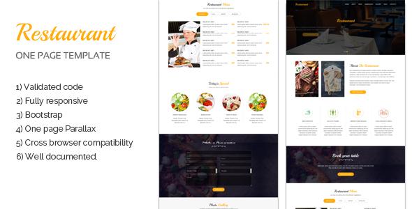 Restaurant One page Template - Restaurants & Cafes Entertainment TFx Fran Elsdon