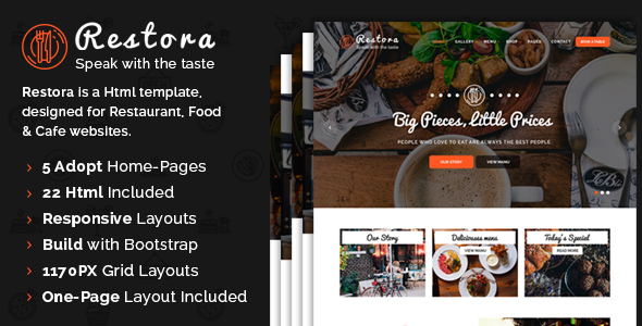 Restora - Responsive HTML Template - Restaurants & Cafes Entertainment TFx Lawrence Diocletian