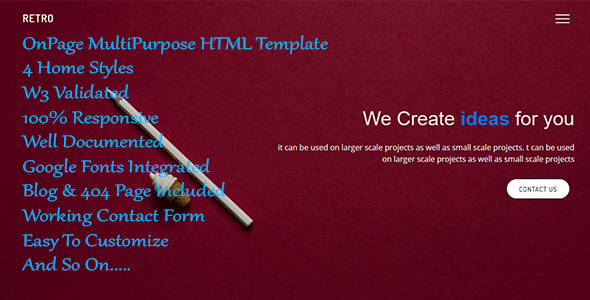Retro - OnePage MultiPurpose Template - Corporate Site Templates TFx Chadwick Hamilcar