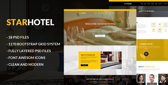 Star Hotel PSD Template - Restaurants & Cafes Entertainment TFx Randal Daichi