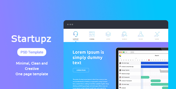 Startupz - One Page PSD Template - Technology PSD Templates TFx Isi Nanuq