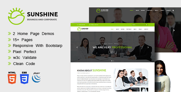 Sunshine - Corporate Site Templates TFx SiteTemplates Sparrow Carson