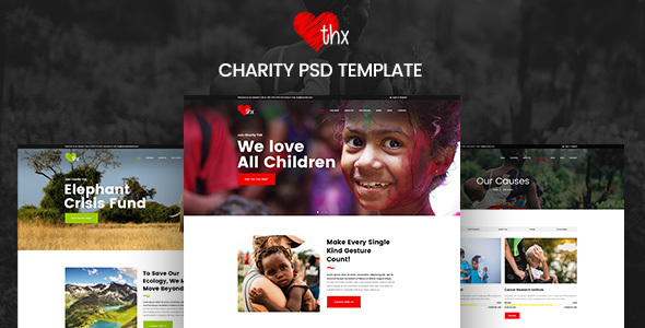 THX - Charity & donation PSD Template - Charity Nonprofit TFx Giffard Hikaru