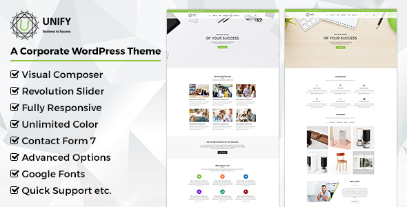 Unify- Corporate WordPress Theme - Corporate WordPress TFx Deacon Indiana