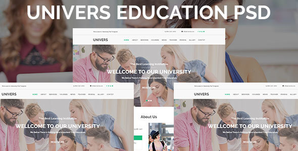 Univers Education One Page PSD Template - PSD Templates  TFx Normand Gregg