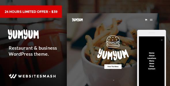 YumYum - Restaurant & Business WordPress Theme - Restaurants & Cafes Entertainment TFx Everett Hovik