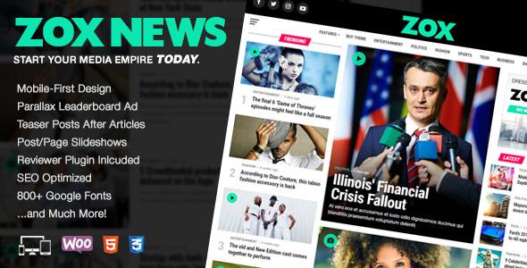 Zox News - Professional WordPress News & Magazine Theme - News / Editorial Blog / Magazine TFx Bryan Buana