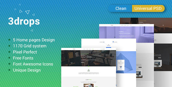 3drops - Clean & Universal PSD Template - Corporate PSD Templates TFx Edwin Howie