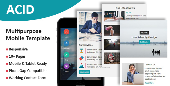 ACID - Multipurpose Responsive Mobile Template - Mobile Site Templates TFx Hovhannes Glen