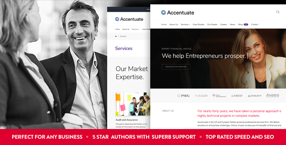 Accentuate - A Professional Consulting WordPress Theme - Business Corporate TFx Manny Cory