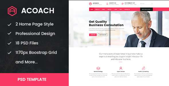 Acoach - Business Coach & Training PSD Template - Business Corporate TFx Naomi Sammie
