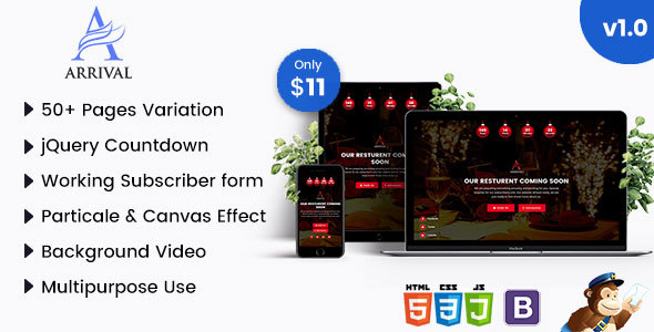 Arrival - Multipurpose HTML5 Coming Soon - Specialty Pages Site Templates TFx Madison Daley