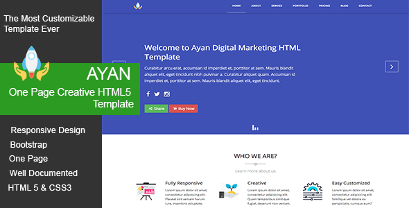 Ayan One Page Creative HTML5 Template – Marketing Corporate TFx Emmet Dom