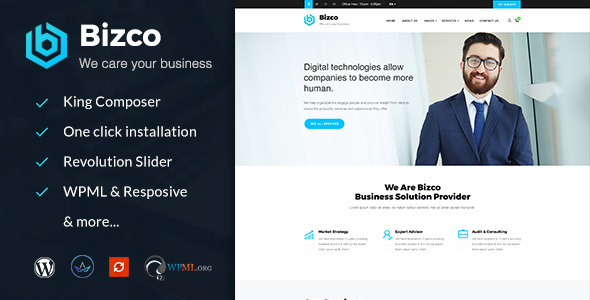 Bizco : Business Consulting and Professional Services WordPress Theme - Business Corporate TFx Dave Conner