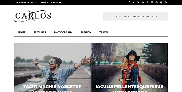 Carlos - Responsive WordPress Magazine and Blog Theme - News / Editorial Blog / Magazine TFx Emmett Baghdasar