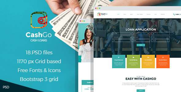 CashGo - Fast Loan Financial Company PSD Template - Business Corporate TFx Ryouichi Merlin