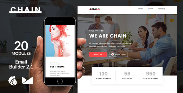Chain Email Template + Online Emailbuilder 2.1 - Newsletters Email Templates TFx Shawn Brady