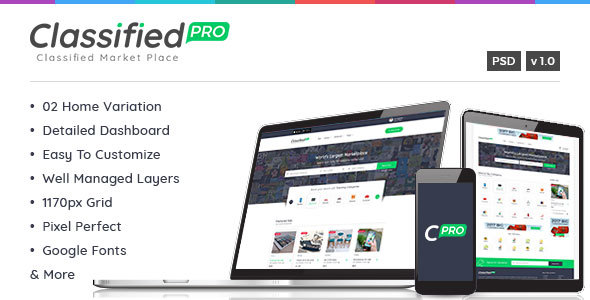 Classified Pro - Classified and Listing Template - Corporate PSD Templates TFx Jarrod Bambang