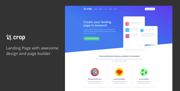 Crop – multipurpose one page landing page – Technology Landing Pages TFx Zeke Jarvis