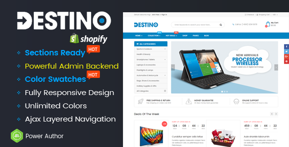 Destino - Responsive Multipurpose Sections Drag & Drop Builder Shopify Theme - Shopify eCommerce TFx Vance Franny