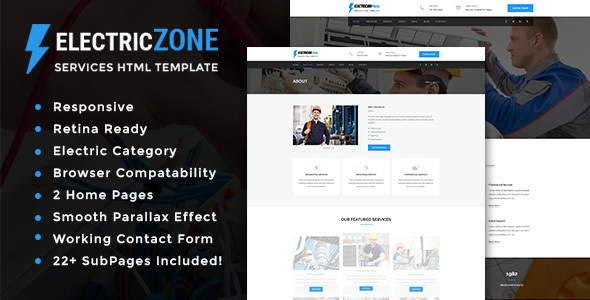 Electric Zone - Electricity Services HTML5 Template - Corporate Site Templates TFx Carloman Jerred