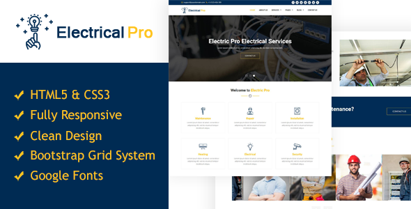 ElectricalPro - Responsive HTML5 Electrical Service Template - Business Corporate TFx Ormond Neil