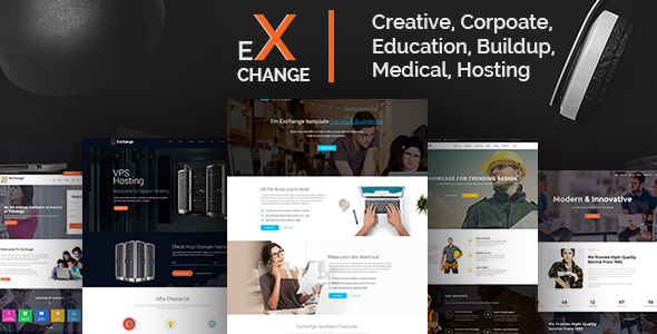 Exchange Creative, Corpoate, Education, Buildup, Medical, Hosting- Landing Page HTML Template - Corporate Site Templates TFx Bernie Hamnet