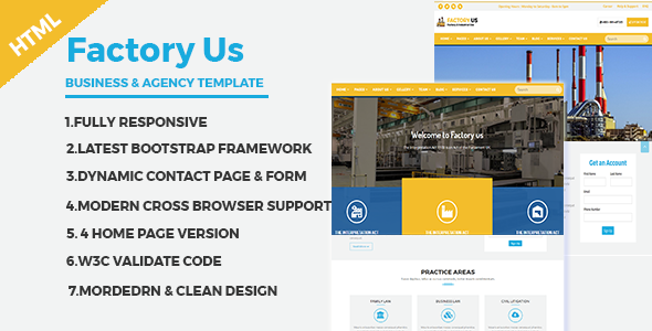 Factory Us - Industrial Business HTML5 Template - Business Corporate TFx Cayden Randolph