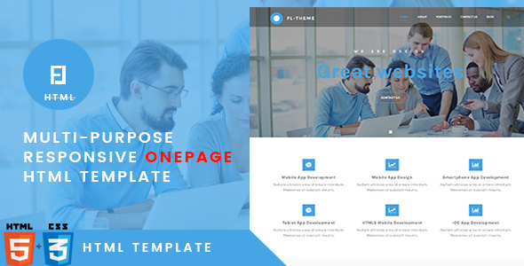 Fl -Multi-Purpose Responsive OnePage HTML Template - Corporate Site Templates TFx Quidel Ryou